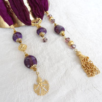 Turkish Silk Necklace,Purple Scarf Necklace,Jewelry Scarf,Scarf Necklace,Gold Necklace,Elegant,Feminine,Gift for Her Mother's Day Gifts