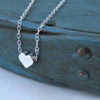 Sterling Silver Heart Necklace Tiny Simple by vintagestampjewels