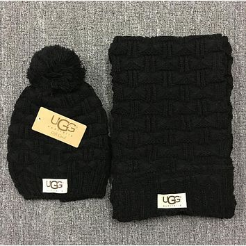 """UGG"" Autumn Winter Warm Women Hairball Hat Knitting Cap Hat Scarf Two Piece"