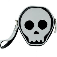 Black and White Skull Wristlet Handbag
