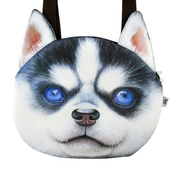 Siberian Husky Puppy Face Shaped Large Shopper Tote Shoulder Bag | Gifts for Dog Lovers