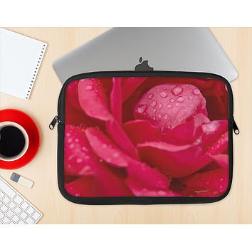 The Drenched Red Rose Ink-Fuzed NeoPrene MacBook Laptop Sleeve