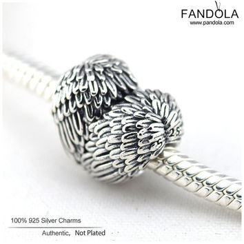Heart 925 Sterling Silver Angelic Feathers Beads Fits Pandora Original Charms Bracelet Metal European Sterling Silver Jewelry