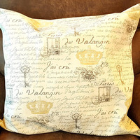 Waverly Paris Notebook Fabric Pillow French Script Fabric Home Decor Throw Pillow