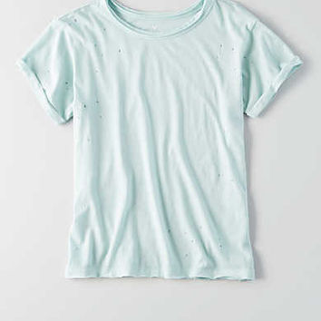 AEO Destroyed Crew T-Shirt , Jade