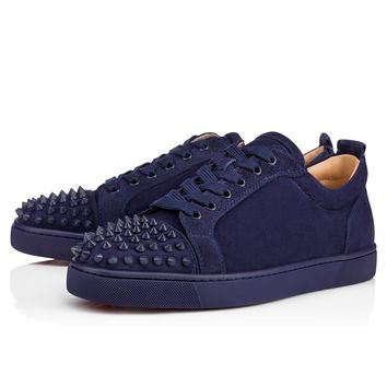 Christian Louboutin Cl Louis Junior Spikes Men's Flat China Blue/china Blue Mat Suede 18s Sneakers - Best Deal Online