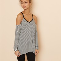 Stripe Cold Shoulder Long Sleeve