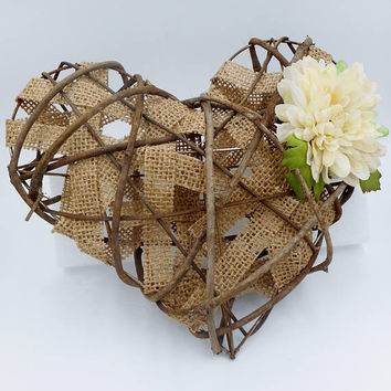 Burlap Heart Wall Decor, Rustic Heart Wall Decor, Country Decor, Burlap Decor, Burlap Heart, Farmhouse Wall Decor, Wood Heart Decor,