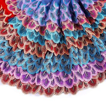Misaya 2Y Peacock Tail 7 Style Colorful Lace Ribbon DIY Embroidered Net Lace Trim Fabric Ribbons For Sewing Decoration Supplies