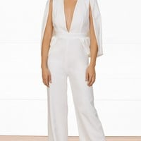 Indie XO Keep It Cool White 3/4 Split Sleeve Plunge V Neck Wide Leg Jumpsuit