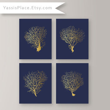 Coral Wall Art Gold Coral Print Set Coral Art Prints Beach House Decor Living Room Decor Gold Artwork Bedroom Art Navy and Gold Art CS-001