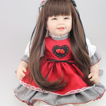 Nicery 22inch 55cm High Vinyl Reborn Baby Toy Doll Sweet  Lifelike Movable  Smiling Princess Christmas Gift Present Black Red