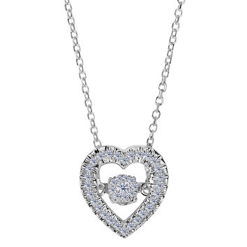 14k White Gold Heart Shaped Dancing Diamonds 18 Inch Necklace - 0.12ct. Diamond