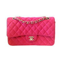 2013 CHANEL Iridescent Caviar 2.55 Double Flap bag Hot Pink