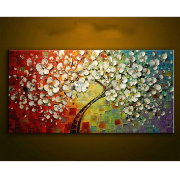 2015 New Modern Oil Painting on Canvas Palette knife Colorful large Flowers Paintings House living room Decor Wall Art Picture