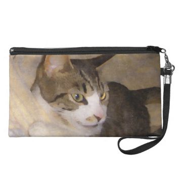 Painted Silk Kitty Wristlet Purse