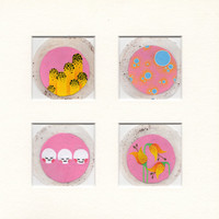 Miniature art, One of a kind, ORIGINAL Illustration, Cute, Pink and Yellow, Mounted, Teabag painting,