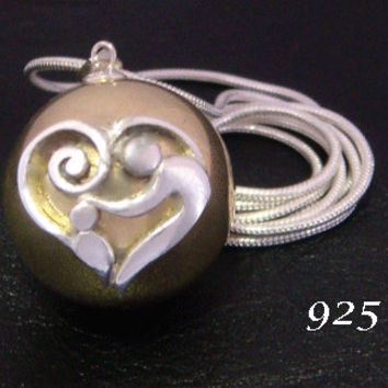 Unique Design Harmony Ball with a 925 Sterling Silver 'Mother and Baby' Design on a Highly Polished Brass Harmony Ball | Pregnancy Gift 598
