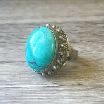 Vintage Blue Turquoise Ring, Large Oval Turquoise Ring, Vintage Sterling Silver Ring