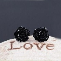 cool Lacquer Coral Rose Earrings