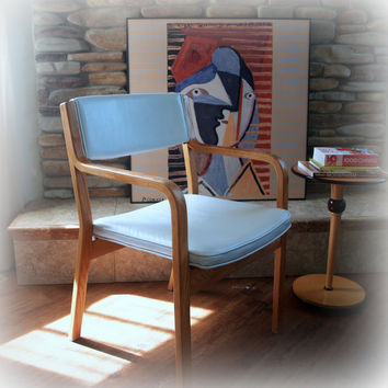 1960s FABULOUS MINIMAL CHAIR Vintage Bentwood Occasional Side Chair Upholstered with Original White Faux Leather:  Danish Mid Century Modern