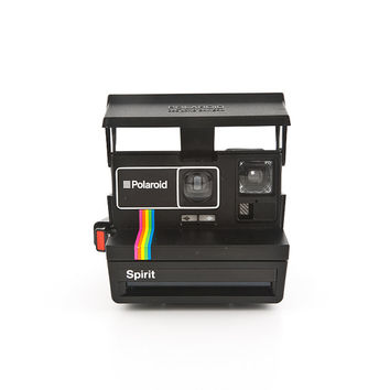 Polaroid SPIRIT 600 with rainbow strip and black body - Polaroid 80s instant camera - Film Tested - Guaranteed Working - polaroid 600 film