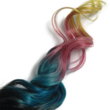 2 Clip in Human Hair Extensions #1b Root Blue Pink Metallic Yellow Ombre Rainbow