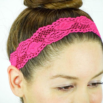 Lace Headband Shocking Pink Stretch Headband Women Headband workout headband lace stretchy headband Hot Pink headband boho headband girly