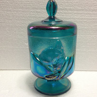 "Vintage 1988 Fenton Glass ""Chessie"" Railroad Iridized Aqua Blue Covered Candy Dish Jar"