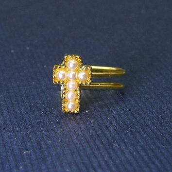 Tiny gold cross with pearl charm Ear Cuff, Nose cuff, Tragus cuff, charm ear cuff,  Non Pierced Nose Ring, Cartilage, Fake piercing