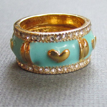 Wide Gold Band with Blue Enamel CZ Stones Hearts