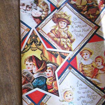 12 Feet Vintage Victorian Image Christmas Gift Wrap; Department Store Style Gift Wrap w/ Santas; Children; U.S. Shipping Included