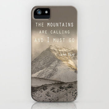 The Mountains are calling, and I must go.  John Muir. Vintage. iPhone Case by Guido Montañés | Society6