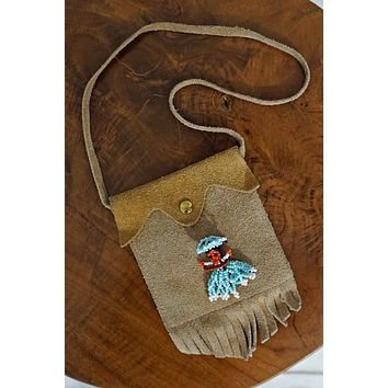 Vintage Suede  Worry Doll Fringe Pouch