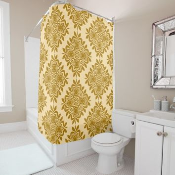 Golden Brown Damask Pattern Shower Curtain