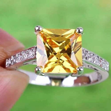 Hot Sale New Fashion Vintage Elegant Princess Cut Twinkling Romantic Gemstone Popular Silver Ring Size 8 9 10 Fashion Jewelery Accessories For Ladies And Girls R1-0104 = 1947042948