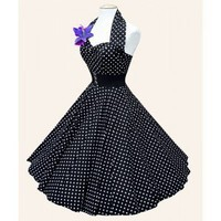 Rockabilly 50's Dress, Black with White Dots