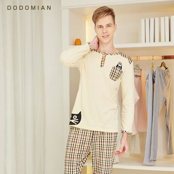 Men Loungewear Soft  Bathrobe Set Plaid Sexy Sleepwear For Men 100% Cotton Bottom Clothing Set Pijama