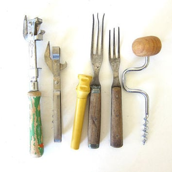 Vintage / antique forks with wooden handles and tines / barware corkscrew and bottle opener utensils