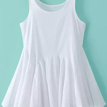 White Sleeveless Pleated Flare Mini Dress