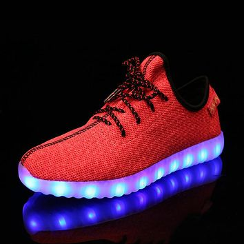 Breath Children Baby Kids Mesh Yeezy Shoes Light Up 7 Colors Boys Trainers Led Lace-Up