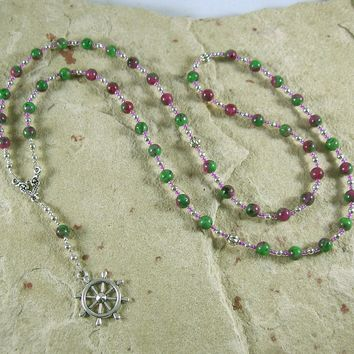 Tyche (Fortune) Prayer Bead Necklace in Ruby-Zoisite: Greek Goddess of Luck, Chance and Prosperity