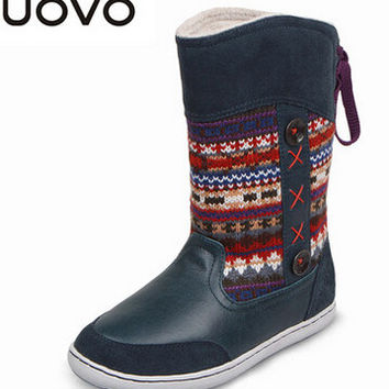 UOVO brand hot kids shoes boots for girls and boys reindeer Christmas boots high quality winter girls snow boots