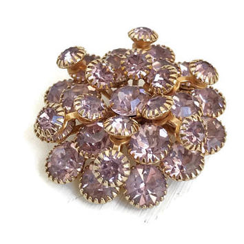 Lilac Brooch Layered with Prong Set Rhinestones, Vintage Purple Brooch, Swedge Construction, 1950s Statement Brooch in Gold Tone Setting
