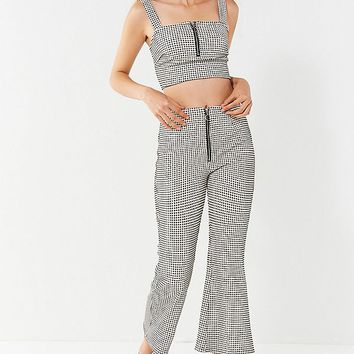 TWIIN Victory Checkered Cropped Flare Pant   Urban Outfitters
