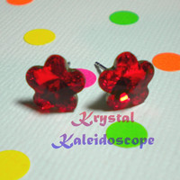 Adorable Bright Red Crystal Rivoli Daisy Flowers - Post Earrings handmade with Swarovski Elements, 10mm Studs