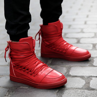 New 2015 High Top Casual For Men Winter Boots Leather Casual Men Casual Shoes Autumn Breathable Zapatos Hombre Red Boots Men