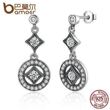 925 Sterling Silver with AAA Zircon VINTAGE ALLURE Drop Earrings