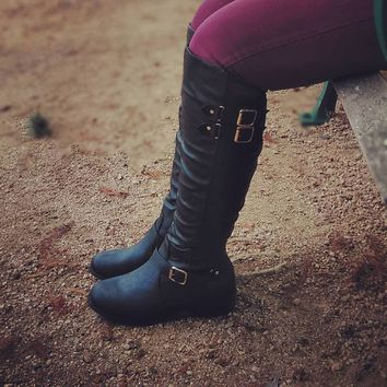 Women's Black Tall Boot with Stretch Band