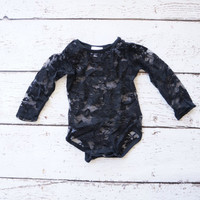 Black Lace baby shirt  -  Baby Lace body suit  - Lace Body Suit  - Lace Infant one piece -